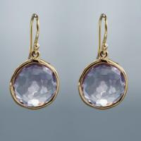 Large picture 925 silver with gold plated ,amethyst earrings