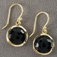 Large picture 18k gold over 925 silver black onyx earrings